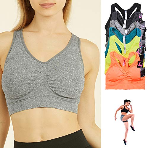 3 Womens Seamless Sports Yoga Bra Crop Top Vest Comfort Stretch Exercise Padded