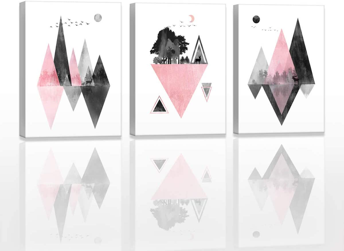 Abstract Bathroom Wall Art Decor Pink Black and White Contemporary Fashion Geometric Abstract Mountains Wall Pictures for Bedroom Office Room Decor Watercolor Painting 3 Pieces Framed Home Decoration