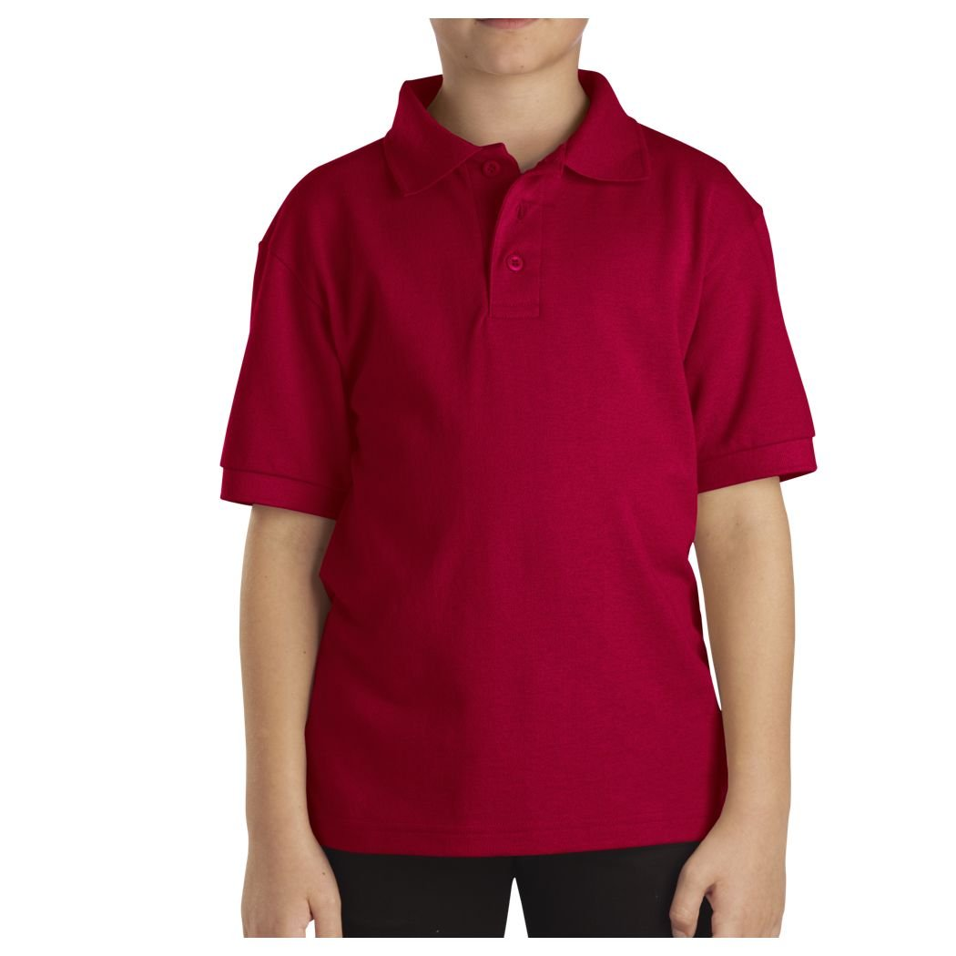 Dickies Little Boys' Short Sleeve Pique Polo Shirt, English Red, Large