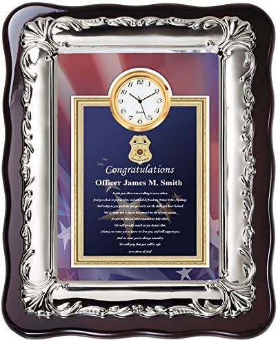 AllGiftFrames Law Enforcement Police Academy Graduation Gift Ideas for Police Officer and Sheriff Graduate – School Student Poetry Clock Plaque Chrome Silver Decor Border