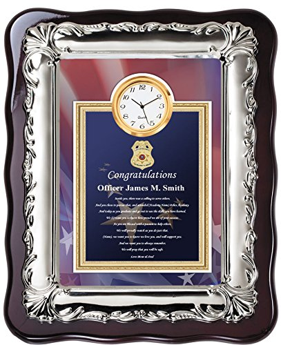 Law enforcement police academy graduation gift ideas for police officer and sheriff graduate - school student poetry clock plaque chrome silver decor border - Item FR20-PA -