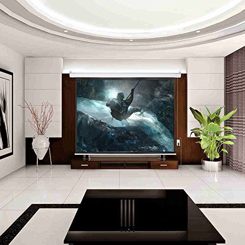 Cloud Mountain HD 100 inch 4:3 Home Office Projector Screen Electric Motorized Matte White Projection Screen, Remote Control Home Movie Theater TV 1.3 Gain by Cloud Mountain (Image #9)