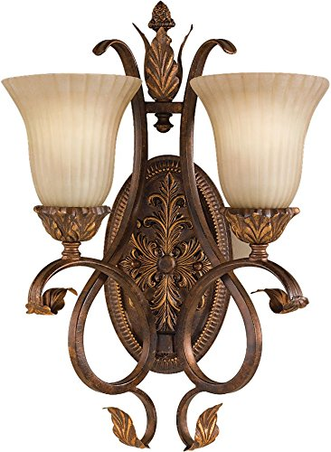 Feiss WB1281ATS Sonoma Valley Glass Wall Sconce Lighting, Aged Tortoise Shell 2-Light (14