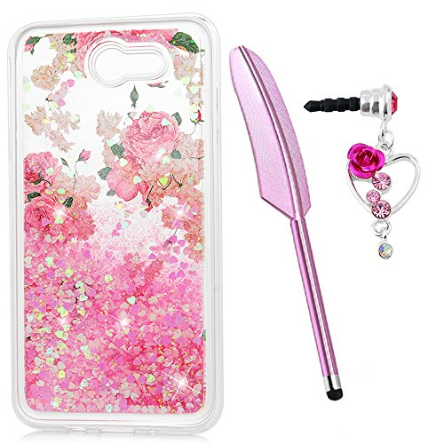 J7 Case, Galaxy J7 Case, Liquid Glitter Case Bling Shiny Flowing Love Heart Cover Clear Protective TPU Bumper for Samsung Galaxy J7 2017 with Stylus Pen Plug Dust ZSTVIVA - Rose Flower -