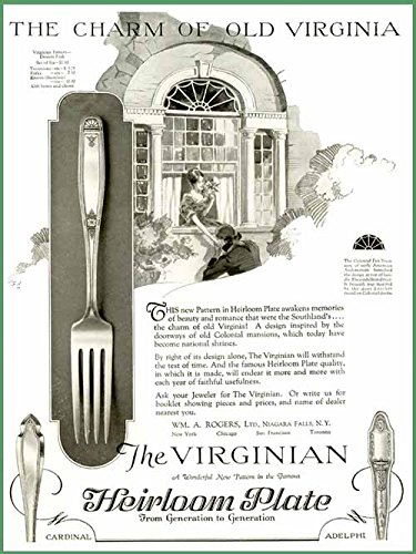 THE VIRGINIAN PATTERN IN 1927 HEIRLOOM SILVERPLATE AD Original Paper Ephemera Authentic Vintage Print Magazine Ad / Article