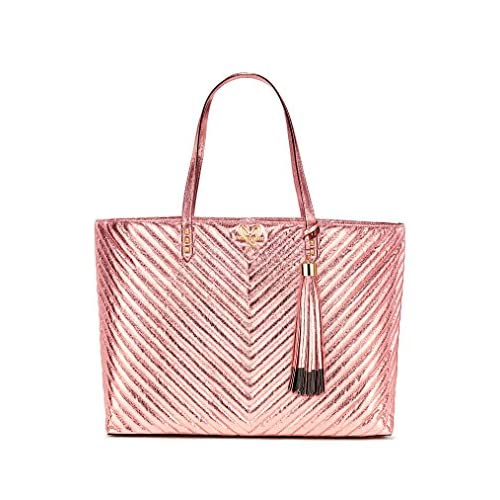 Victoria's Secret V-Quilt Metallic Crackle Everything Tote, Pink