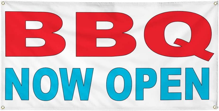 Vinyl Banner Multiple Sizes BBQ Now Open Red Blue Food Bar Restaurant Truck Business Outdoor Weatherproof Industrial Yard Signs 4 Grommets 12x30Inches