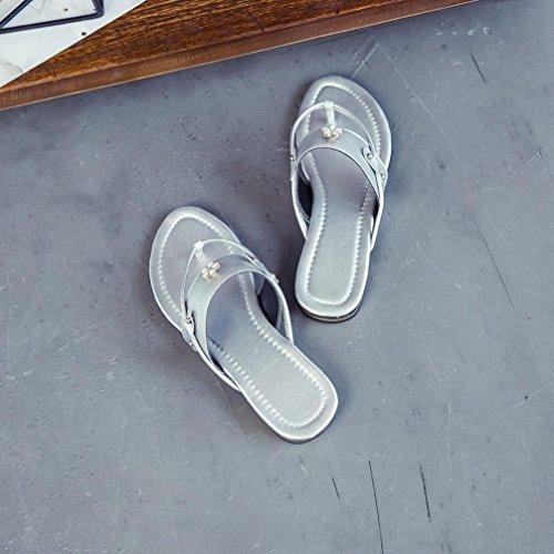 Deesee (tm) Donna Estate Scarpe Da Spiaggia Fiore Sandali Piatti Antiscivolo Pantofole Sandalo Grigio