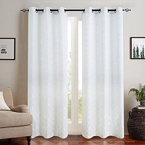 Jacquard Curtains for Living Room 84 inch Length Trellis Geometric Pattern White Semi Sheer Window Curtains for Bedroom Privacy Opaque Window Treatment Set, Grommet Top, 2 (Trellis Fabric)