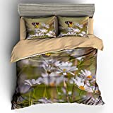 BOMCOM 3D Digital Printing Butterfly Sitting on Chamomile Flowers Summer Background 3-Piece Duvet Cover Sets 100% Microfiber (twin, Butterfly)