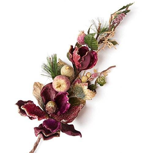 Factory Direct Craft Purple Velvet Magnolia and Iced Mixed Fruit Spray with Glittered Accents