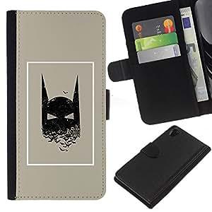 KLONGSHOP // Tirón de la caja Cartera de cuero con ranuras para tarjetas - Película Hombre carácter cómico cartel - Sony Xperia Z2 D6502 //