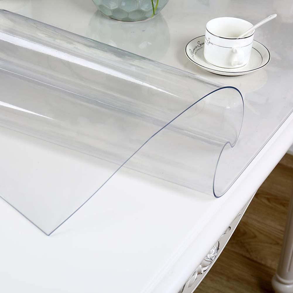 MeterMall Cubierta de Tabla Transparente de Cristal Suave Impermeable para la decoraci/ón casera del Banquete de la Cocina 60x100cm Transparente