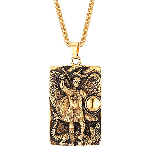 - U7 Men's St Michael Pendant Archangel Religious Jewelry 18K Gold Plated Necklace,3mm Chain
