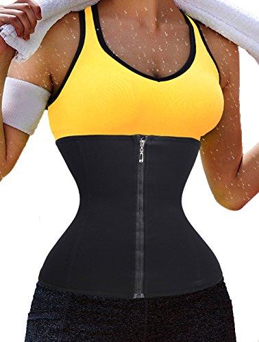 Women's Waist Trainer Zipper Cincher Body Shaper Trimmer Black Long Torso