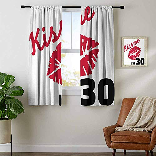 18' Stencil Sheets - youpinnong 30th Birthday, Curtains Decoration, Kiss Me Im 30 Slogan Quote with Sexy Lips Hand Writing Stencil Art, Curtains Kitchen Window Set, W54 x L63 Inch Red Black White