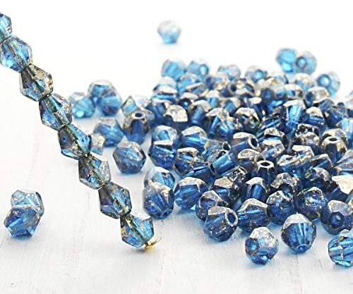 (50pcs Crystal Turquoise Green Blue Gold Rain Spotted Bicone Faceted Fire Polished Czech Glass Beads 4mm )