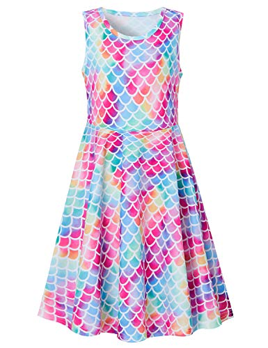 Summer Fish Scale Print Dresses for Girls,Active School Girls Twirls Knee-Length Dresses Sleeveless Cute Mermaid Dress for Holiday Trip Size 10