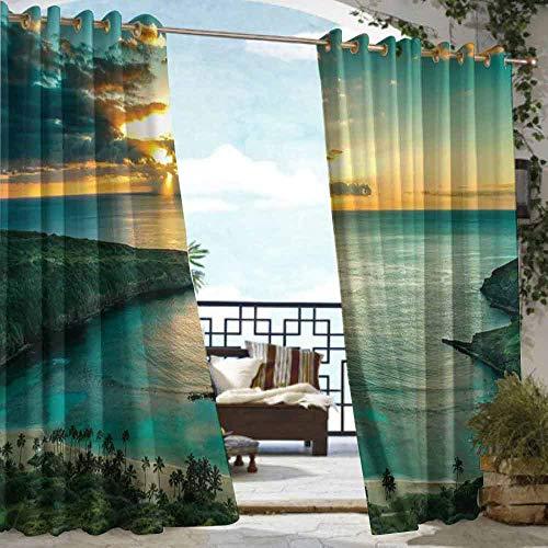 DILITECK Curtains for Living Room Hawaiian Decorations Sunrise Over Hanauma Bay on Oahu Waterproof Patio Door Panel W108 xL72 Hawaii Sunbeams Through Dark Clouds Shoreline