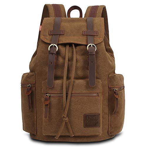 KAUKKO Vintage Casual Canvas and Leather Rucksack Backpack, 1Khaki