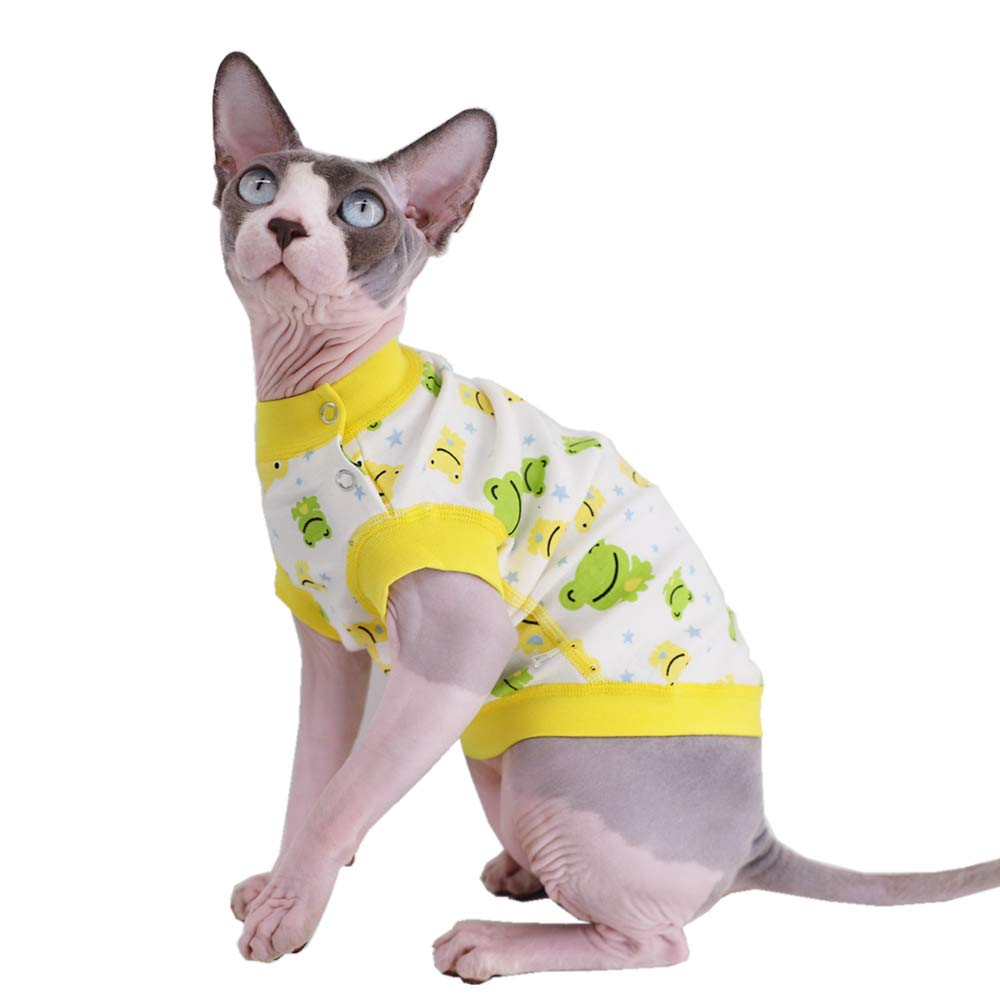 Sphynx Hairless Cat Cute Breathable Summer Cotton T-Shirts Pet Clothes,Round Collar Vest Kitten Shirts Sleeveless, Cats…