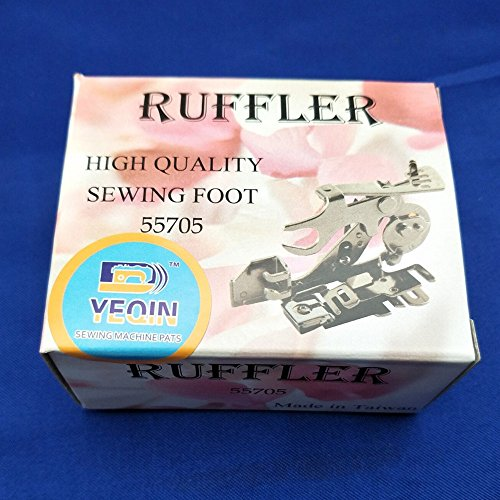 YEQIN Ruffler Foot (#55705) Sewing Machine Presser Foot for Singer Brother Juki Low Shank Sewing Machine (Pink Box)