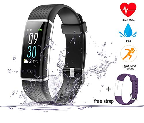 (ABOX Fitness Tracker, Heart Rate Monitor Watch, Color Screen Activity Tracker, IP68 Waterproof Smart Watch Steps Counter and Call/SMS Reminder for Android & iOS (with Replacement Band))