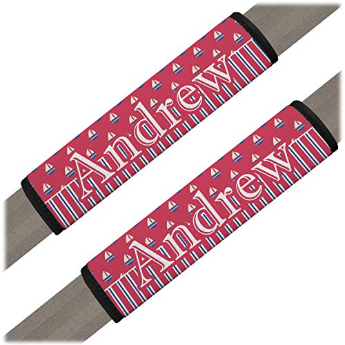 - YouCustomizeIt Sail Boats & Stripes Seat Belt Covers (Set of 2) (Personalized)