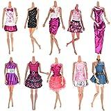 10 PC Moda Hecha a Mano Casual Suave Paño Muñeca Mini Falda con 10 pares de Zapatos para Barbie Estilo Aleatorio