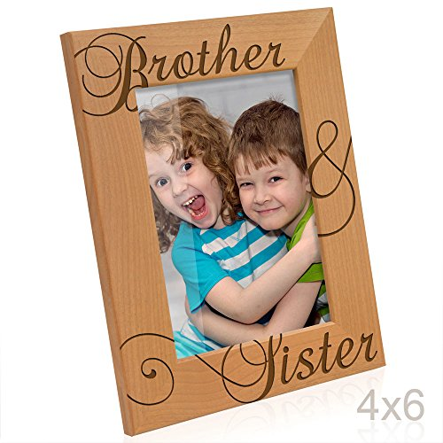 Kate Posh   Brother   Sister Engraved Natural Wood Picture Frame  Siblings Gifts  Christmas Gifts  Wedding Gifts  Little Sister  Little Brother  Big Sister  Big Brother  4X6 Vertical