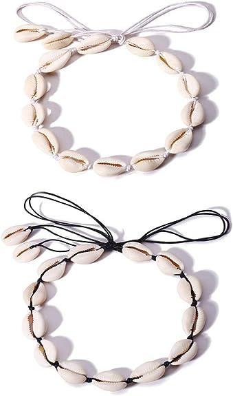 Mingjun Lot de 2 colliers ras du cou en coquillage naturel Hawaii Coquillage de coquillage fait à la main Bijoux pour filles femmes avec long cordon
