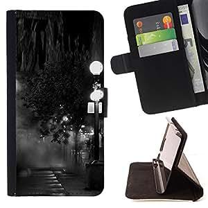 BLACK WHITE PHOTO STREET LAMP NIGHT/ Personalizada del estilo del dise???¡Ào de la PU Caso de encargo del cuero del tir????n del soporte d - Cao - For Samsung Galaxy Note 4 IV