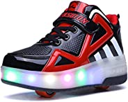 Ufatansy Roller Shoes Colorful LED Lights Kids Roller Skate Shoes Fashion Sneakers for Girls Boys High-top Sho