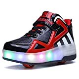 Uforme Kids Boys Girls High-Top Shoes LED Light Up Sneakers Single Wheel Double Wheel Roller Skate Shoes (4 M US=CN36, Black/Red-Double Wheel) ...