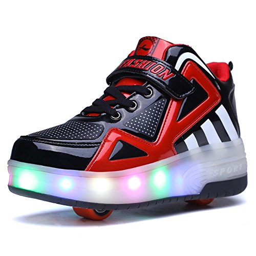 Uforme Kids Boys Girls High-Top Shoes LED Light Up Sneakers Single Wheel Double Wheel Roller Skate Shoes (3.5 M US =CN35, Black/Red-Double Wheel) ... (Dots Kids Polka Shoes)