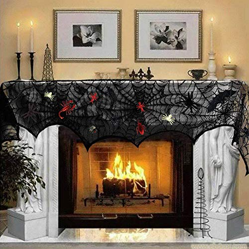 (U-Goforst 18X96 Inch Black Lace Spiderweb Fireplace Cover, 44 Pieces Plastic Realistic Bugs, White Stretch Spider Web for Halloween Party Mantle Scarf Door Window Decoration)