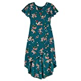 Amy Byer Girls' Big Short Sleeve High Low Surplice Dress, Emerald Multi Bunches, 7
