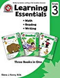 Learning Essentials Grade 3: Math, Reading, Writing, Three Books in One: Written