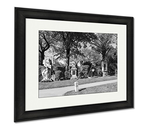 Ashley Framed Prints View To Vienna Central Cemetery The Place Where Famous People Like Musicians, Modern Room Accent Piece, Black/White, 34x40 (frame size), Black Frame, - Vienna To In Where Shop