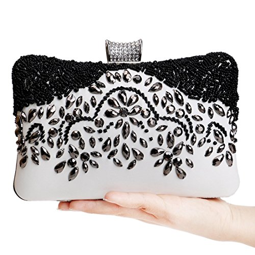 and and Handmade Clutch Black Beaded Crossbody Handbag Bag Color white Purse Luxury Evening Women's KERVINFENDRIYUN White Black p7nxqgZq