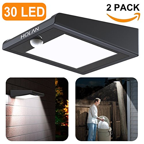 2 Light Led Wall (2 Pack 30 LED Solar Lights, Mulcolor Solar Solar Powered Security Lights Wireless Solar Lights Rechargeable Waterproof Wall Light with PIR Sensor for Garden, Patio?Backyard and Pathway)