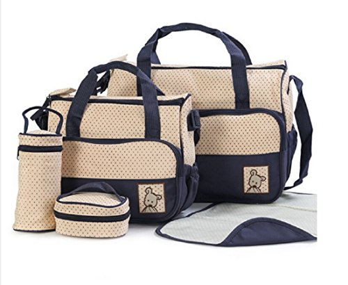 PAAT SHOP 5pcs Baby Diaper Bag Suits For Mom Baby Bottle Holder Fashion Mother Mummy Stroller Maternity Bag Nappy Bags Sets (Navy)