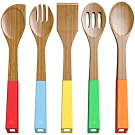 Vremi Parent Sku Bamboo Spoons 10 5 PIECE WOODEN SPOON SET - Not all wooden spoons are created equal. Our natural bamboo utensils are eco-friendly, well-made and safe to use for all types of cookware. This set includes a spatula, turner spoon, mixing spoon, forked spoon and slotted spoon COOK WITH DURABLE BAMBOO UTENSILS -  Our heavy duty cooking and serving spoon absorbs very little moisture so it won't shrink, it is also naturally stronger and more durable than other wood spoons, as it won't absorb food odors, stains, or cross-contaminate your food COLORFUL ERGONOMIC HANDLES - This non-toxic BPA free premium wooden cooking utensils set are designed with a smooth wood finish and features long decorative colored silicone rubber handles that provides comfortable grips when stirring and serving