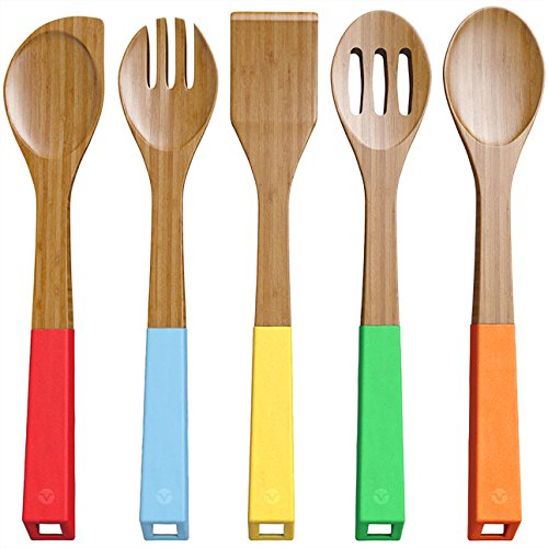 Colored Wood Spoons - Vremi 5-Piece Bamboo Kitchen Utensil Set - Wooden Spoons and Cooking Utensils with Colorful SIlicone Handles - Nonstick Spatula Turner Mixing Forked and Slotted Wood Spoons with BPA Free Hanging Holes