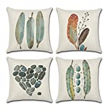 Carrie Home Hand Painting Feather and Stone Decorative Throw Pillow Case Cushion Cover Simple Life Decor Pillowcase, 18 x 18 inch 4 Pack