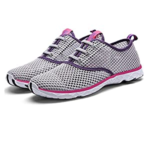 Quicksilk Women Quick Drying Mesh Slip On Water Shoes (7 B(M) US, Gray)