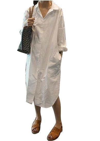 c832a16fc267 ARTFFEL-Women Boyfriend Long Sleeve Loose Button Up Midi Blouse Shirt Dress  White XS