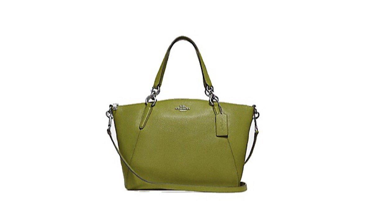 Coach Pebble Leather Mini Kelsey Satchel Crossbody Handbag (Yellow/Green)