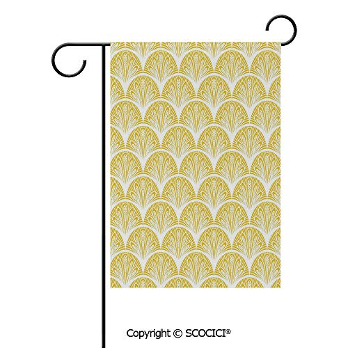 SCOCICI Double Sided Washable Customized Unique 28x40(in) Garden Flag Rounded Floral Motifs Overlapping Pattern 20s 30s Bohemian Simple,Earth Yellow White,Flag Pole NOT Included