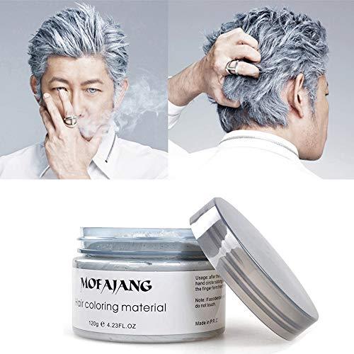 MOFAJANG Silver Grey Hair Wax Pomades 4.23 oz - Natural Hair Coloring Wax Material Disposable Hair Styling Clays Ash for Cosplay, Party (Silver Grey)